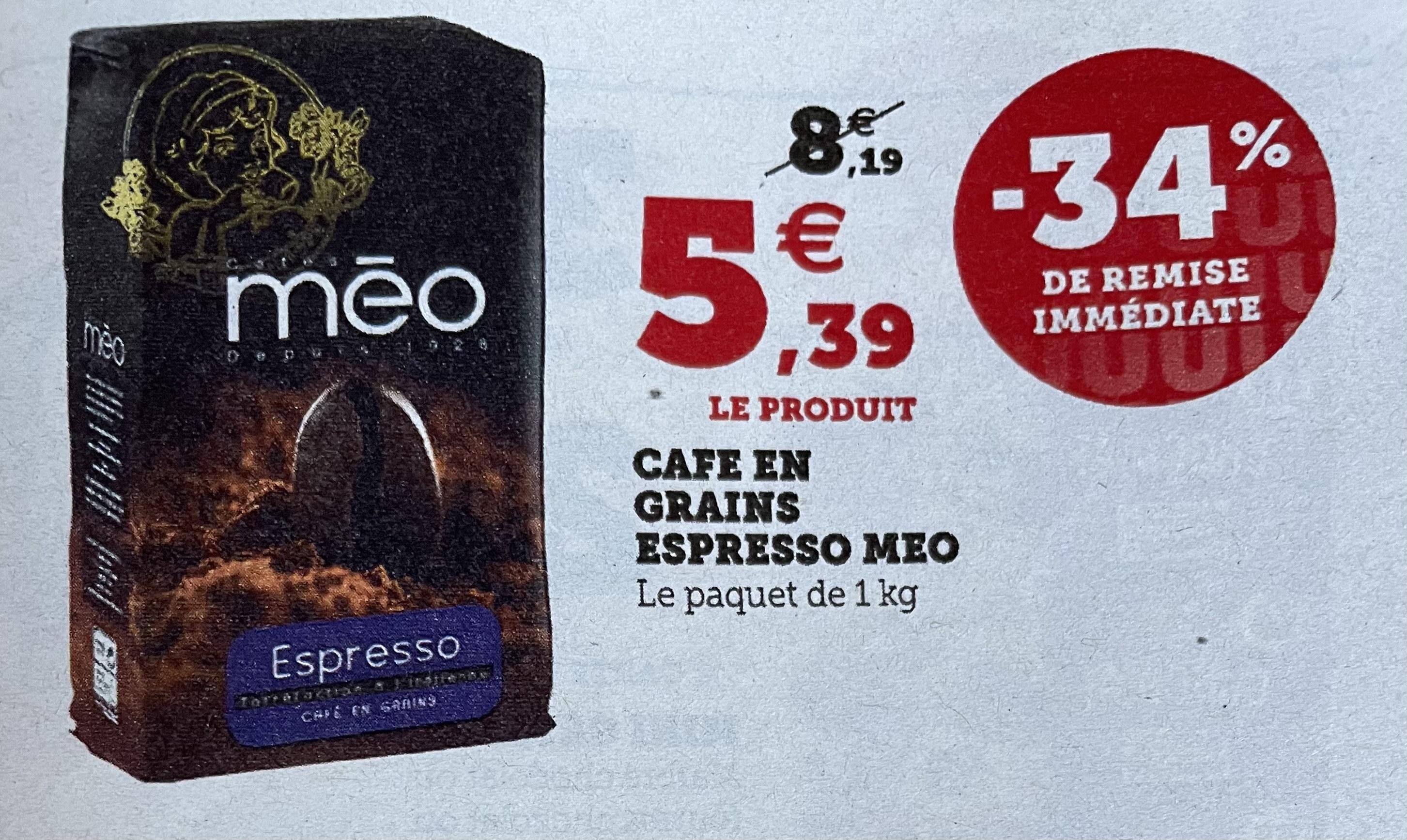 Paquet de Café en grains Meo Espresso (1 kg) - Magasins participants