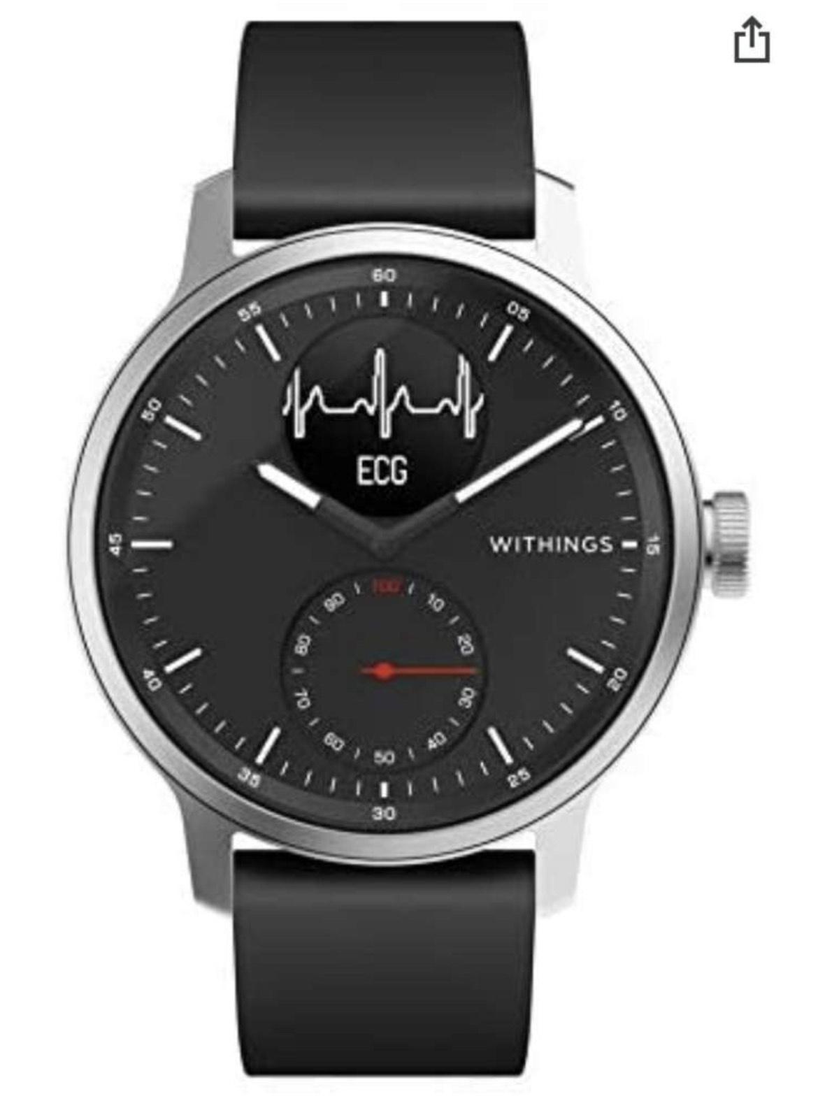 Montre connectée Withings Scanwatch - Hybride avec ECG, Fréquence Cardiaque, SPO2 et Suivi du Sommeil
