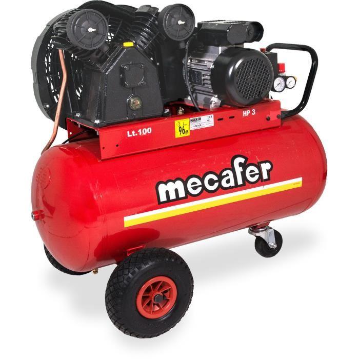 Compresseur Mecafer - 100L, 3CV, 10 bars, V Bicylindre en Fonte