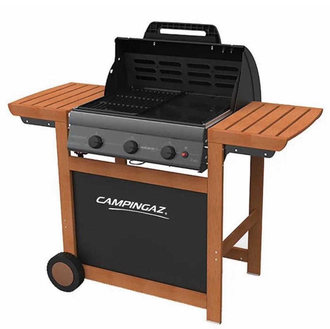 Barbecue à gaz Campingaz Adelaide 3 Woody L - Acier émaillé, 45x57 cm