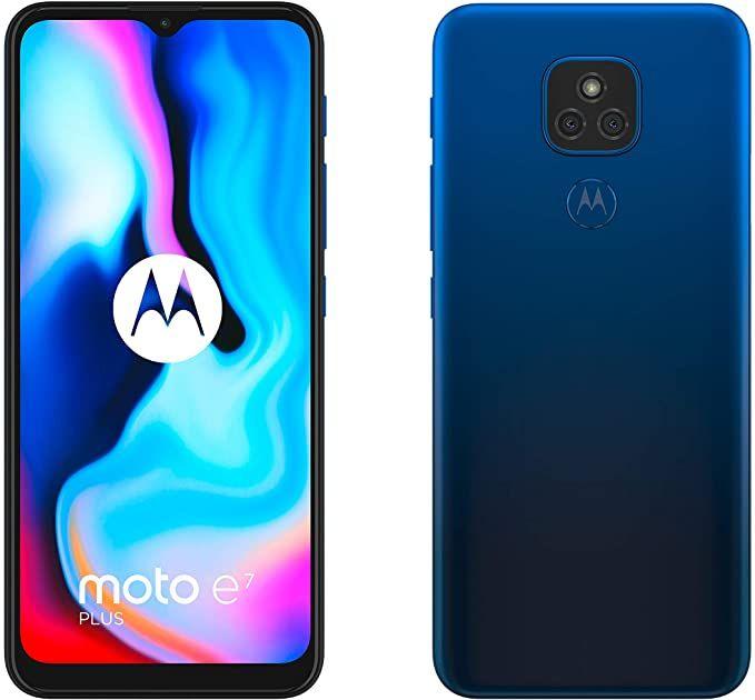 """Smartphone 6.5"""" Motorola e7 Plus - HD+, SnapDragon 460, 4 Go de RAM, 64 Go, 48 Mpix, bleu"""