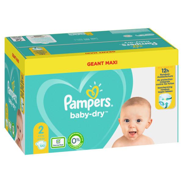 Maxi Geant Pack de Couches Pampers Baby Dry - Différentes tailles (Via 17,83€ sur Carte Fidélité + BDR )