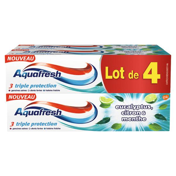 Lot de 4 tubes de dentifrice Aquafresh Triple Protection - Eucalyptus, citron et menthe 4 x 75 ml (via 2.73 € sur la carte fidélité)
