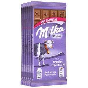 Lot de 6 tablettes de chocolat Milka au Lait du Pays Alpin, Tendre Lait ou Riz Croustillant - 6x 100 g