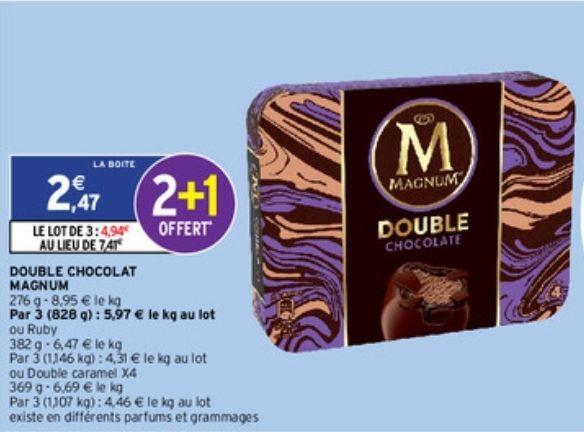 3 boîtes de 4 bâtonnets de glace Magnum Double, Différentes variétés