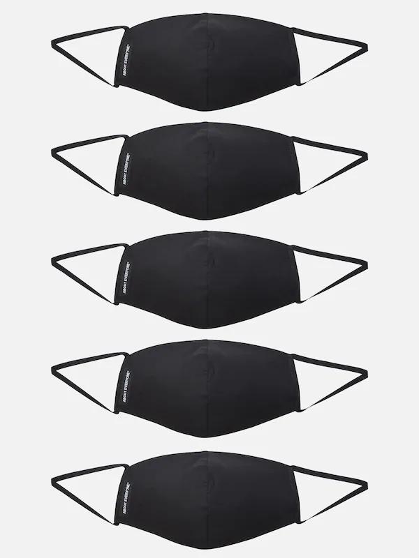 Lot de 5 masques en tissu About You Lexa - en coton (97%), noir