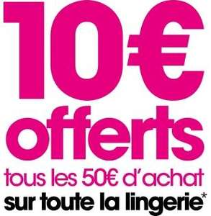10€ de réduction tous les 50€ d'achat sur une sélection d'articles