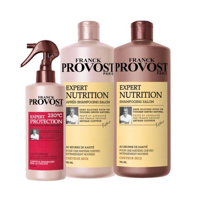 Lot de 3 produits Franck Provost Paris - shampoing (70 cl) + après-shampoing Expert Nutrition (70 cl) + soin sans rinçage (30 cl)