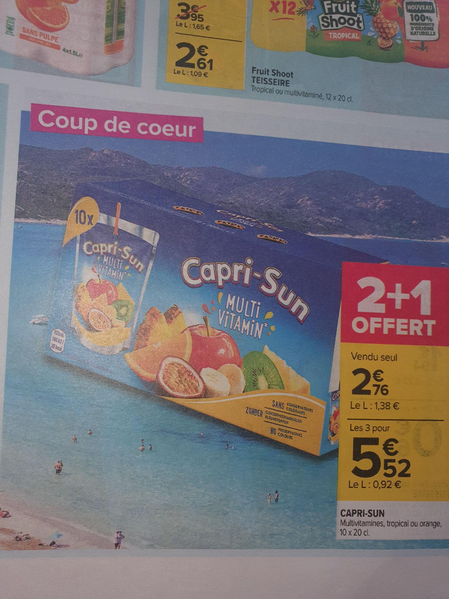 Lot de 3 packs de 10 gourdes Capri-Sun - 30x20 cl, différents goûts