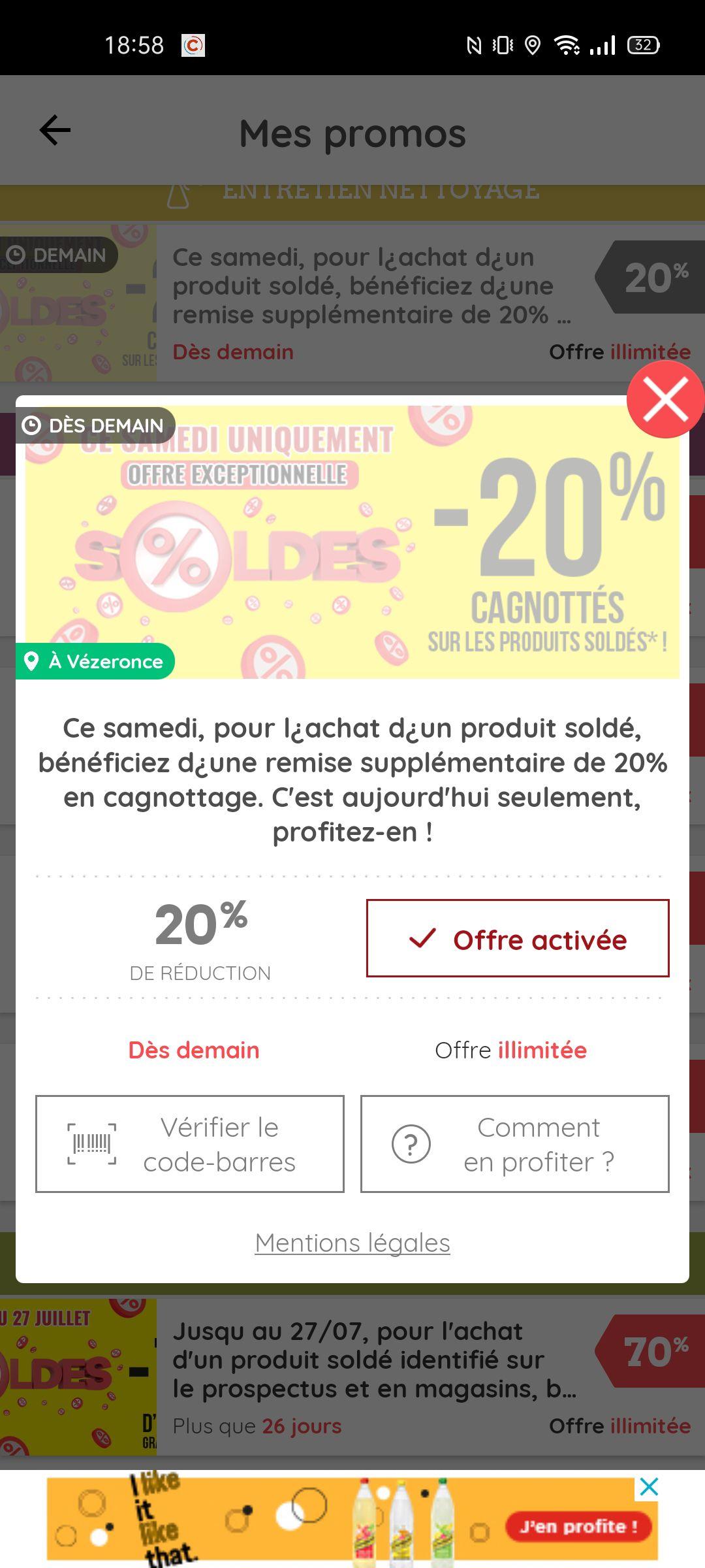 20% crédité sur le compte de fidélité sur les produits soldés - Vézeronce-Curtin (38)