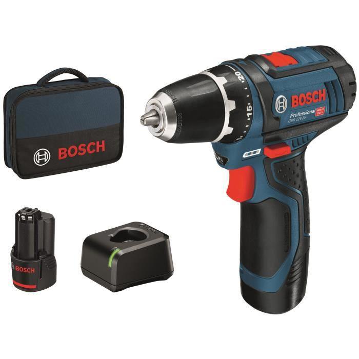 Perceuse visseuse sans fil Bosch Professional GSR 12V-15 + 2 batteries 2.0Ah + chargeur + sacoche