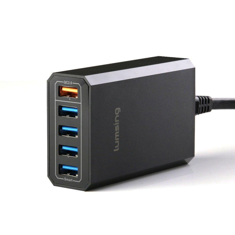 Chargeur de bureau USB Lumsing QC - 5 ports (dont 1 Quick Charge 2.0), 40 W