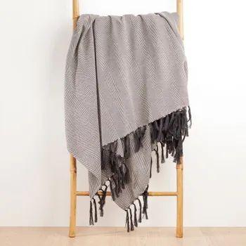 Plaid Ziggy fringes, blanc/noir l.130 x L.170 cm (Plusieurs coloris)