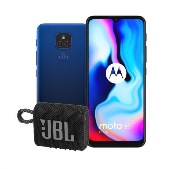 Smartphone Motorola E7 Plus - 4Go RAM, 64Go ROM, 46Mpx + Enceinte JBL GO 3