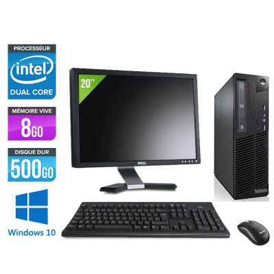 "Pack PC Lenovo Thinkcentre M73 SFF (Intel Pentium G3220, 8Go RAM DDR3, 500 Go HDD, Windows 10) + Écran 20"" (Reconditionné)"