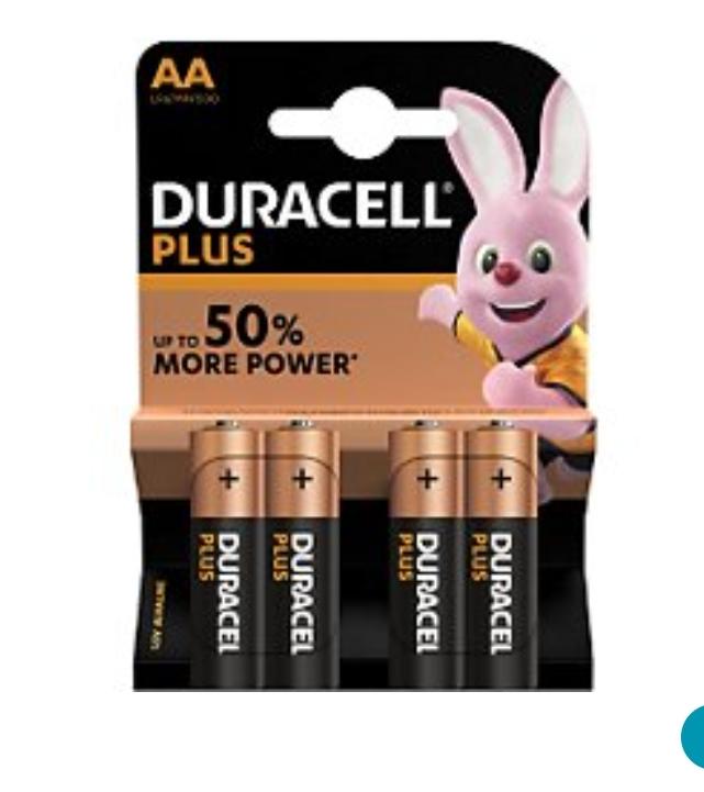 Sélection de piles en promotion - Ex : Lot de 4 piles Duracell Plus Power AA/LR06 (Retrait magasin uniquement)