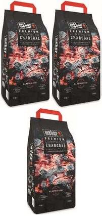 Lot de 3 sacs de 3 kg de charbon de bois Weber premium - 3 x 3 kg