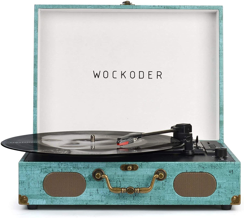 Platine vinyle à haut-parleur intégré Wockoder - Bluetooth (Via coupon - Vendeur tiers)