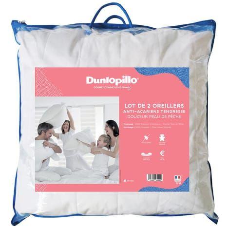 Lot de 2 oreillers anti-acariens en polyester Dunlopillo Tendresse - 50/70 cm ou 60/60 cm