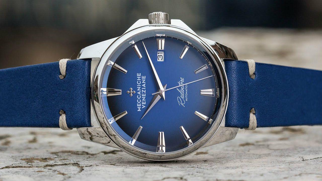 Montre automatique Meccaniche Veneziane 1301006 - Bleu, bracelet cuir bovin, 40 mm (hommeprive.com)