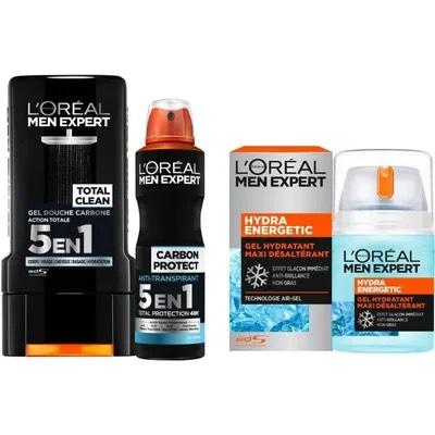 Lot L'oréal Paris Men Expert : 1 gel douche (300 ml) + 1 déodorant spray (50 ml) + 1 soin hydratant (50 ml)