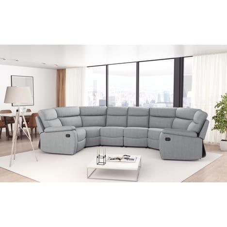 Canapé panoramique 6 places Hélène - 2 assises relax, tissu en gris clair
