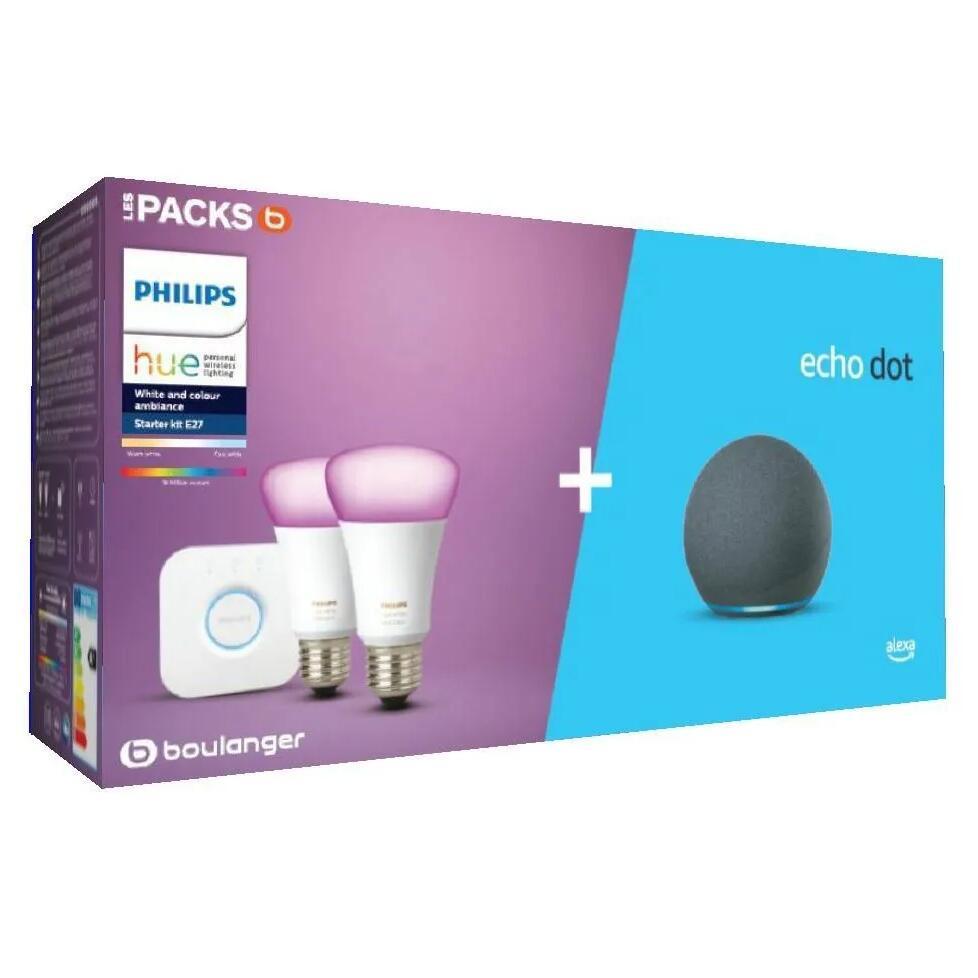 Pack de démarrage Philips Hue/Amazon : 2 Ampoules White & Colors + Pont + Assistant vocal Echo Dot 4 (+ Jusqu'à 30€ en RP) - Boulanger