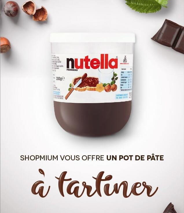 [Nouveaux Clients] 1 pot de Nutella offert (pot de 200g, 220g, 350g ou 400g)
