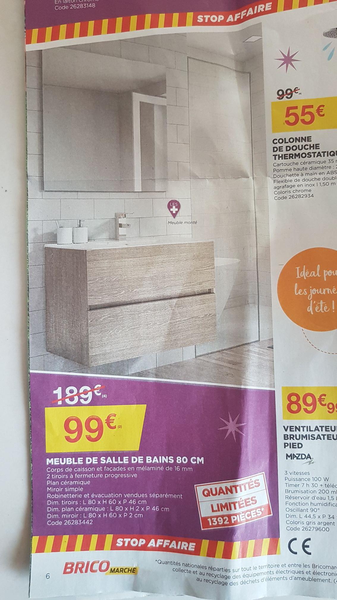 Meuble salle de bain (80cm) + Vasque + Miroir