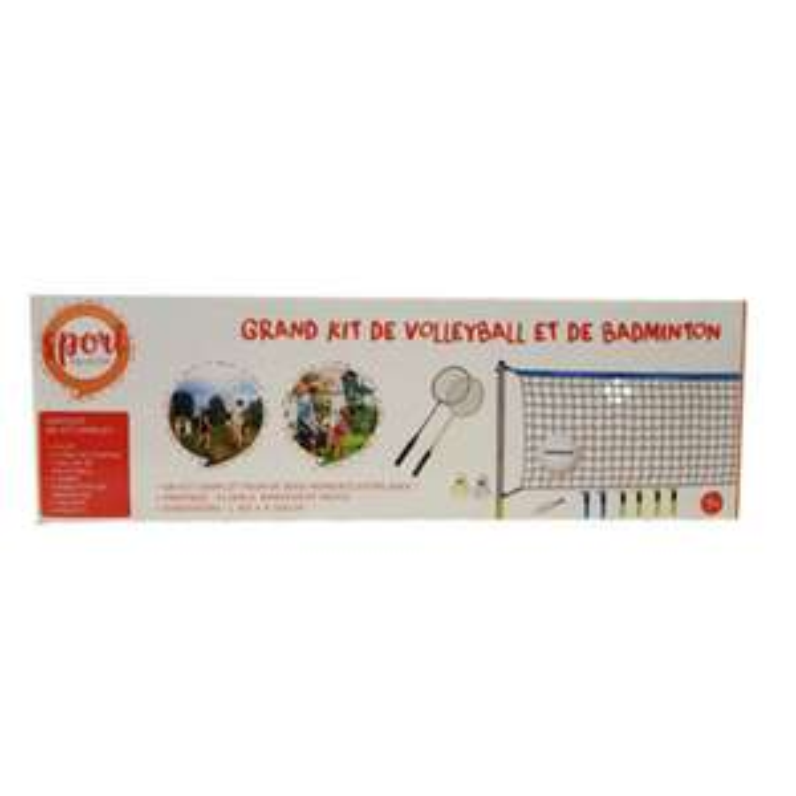 Grand Kit de Volleyball et de Badminton : 1 filet, 6 tubes de fixation, 1 ballon, 1 pompe, 2 raquettes, 2 volants et 6 piquets