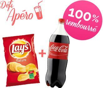 Défi Apéro : 2 demandes de remboursement acceptées = 1 bouteille de Coca-Cola + 1 paquet de Chips Lay's offerts