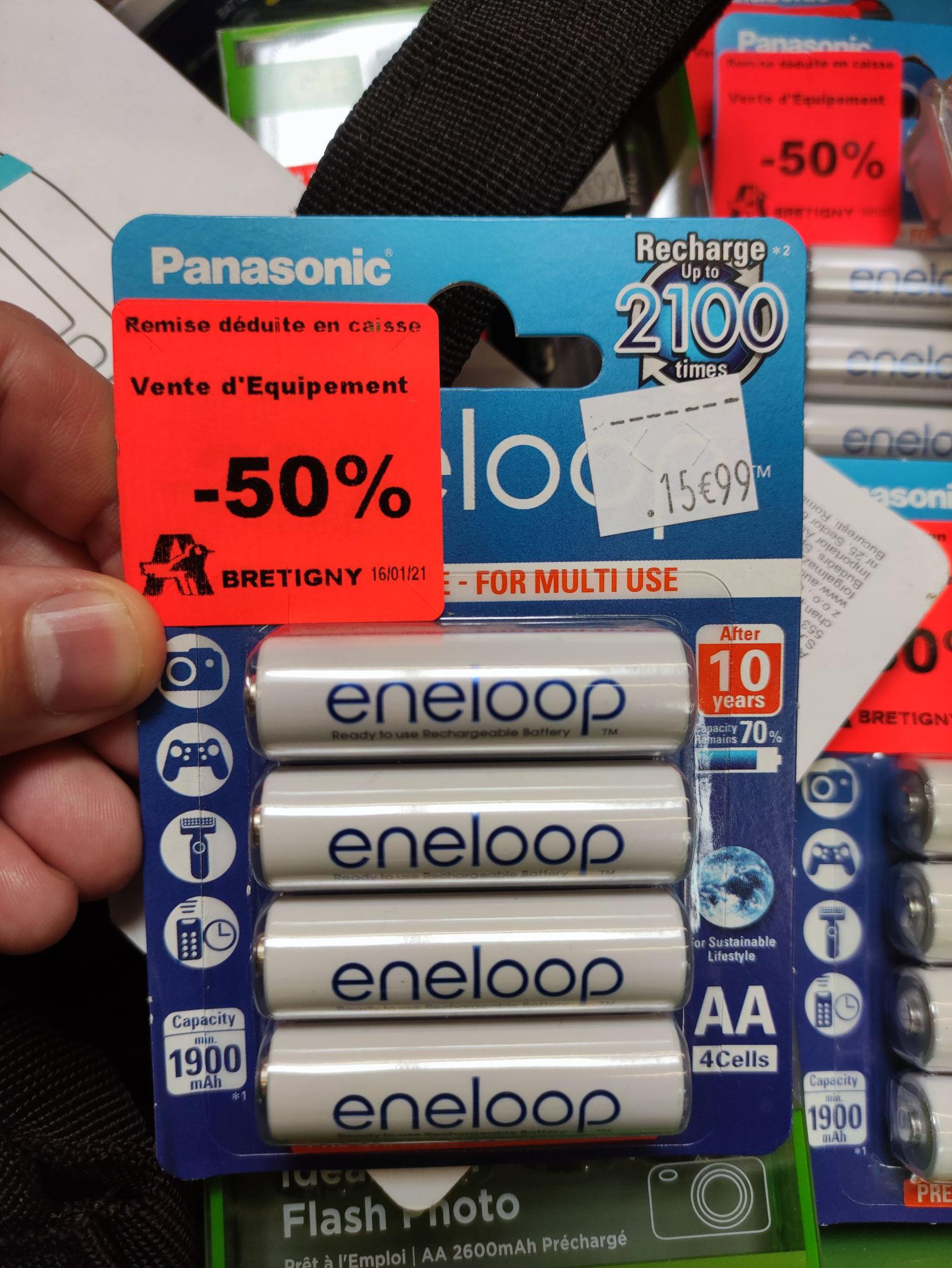 Pack de 4 piles rechargeables AA Panasonic Eneloop (1900 mAh) - Brétigny-sur-Orge (91)