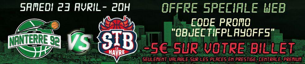 5€ de réduction immédiate pour le match de Basket Nanterre 92 - STB Le Havre (Pro A) du 23 avril 2016 à 20h au Palais des sports de Nanterre