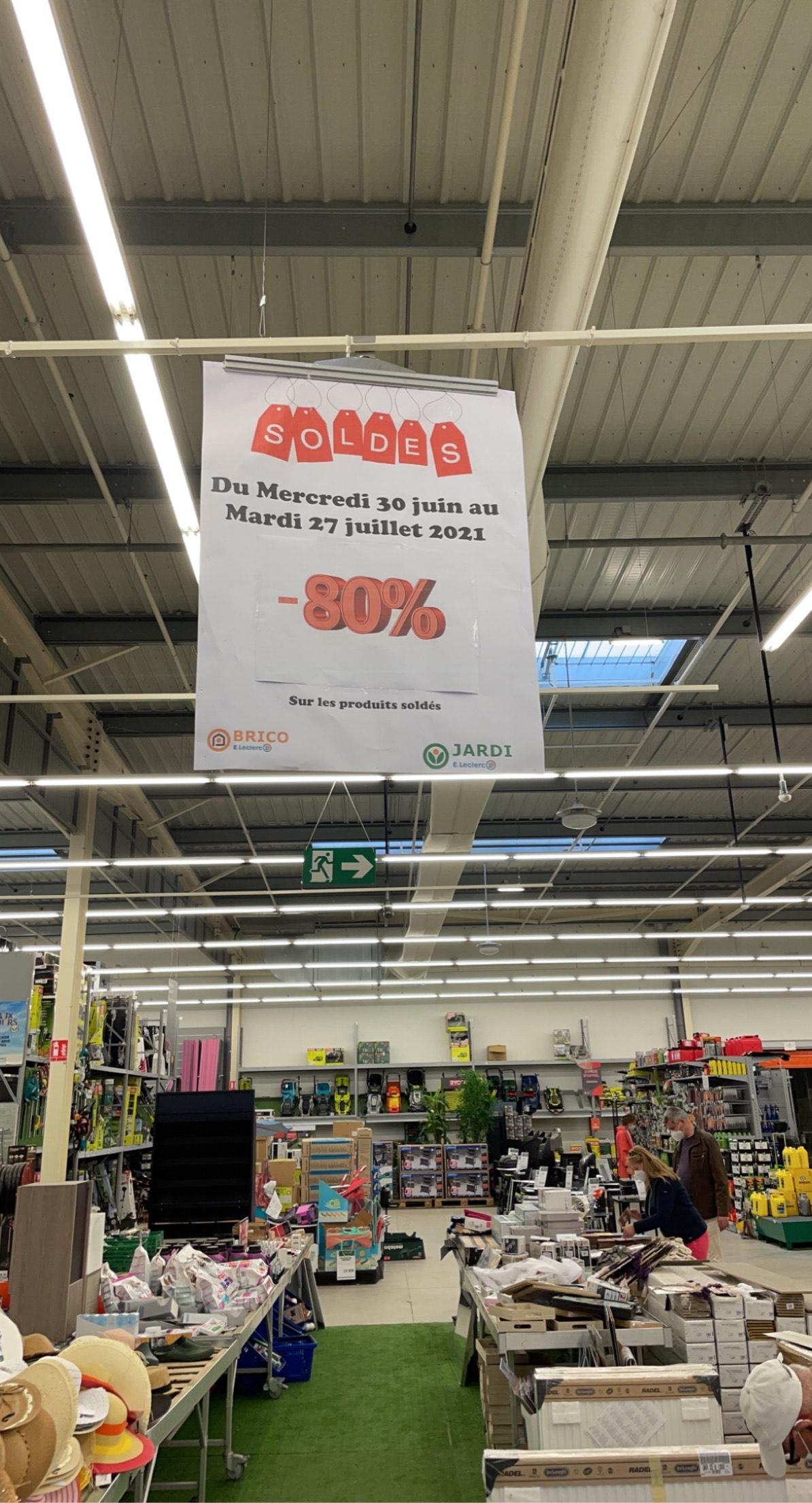 80% de réduction sur les articles soldés - Leclerc Brico Pont-Sainte-Maxence (60)