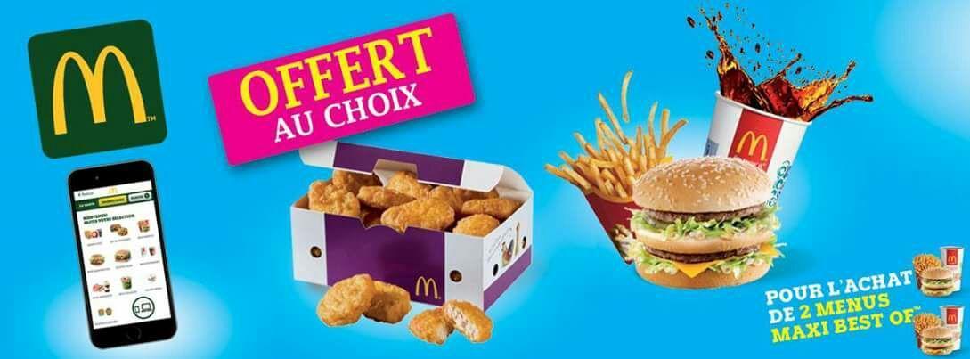 2 menus Maxi Best Of achetés (En ligne ou via l'application mobile) = 1 menu Maxi Best Of ou 1 boîte de 20 nuggets offert