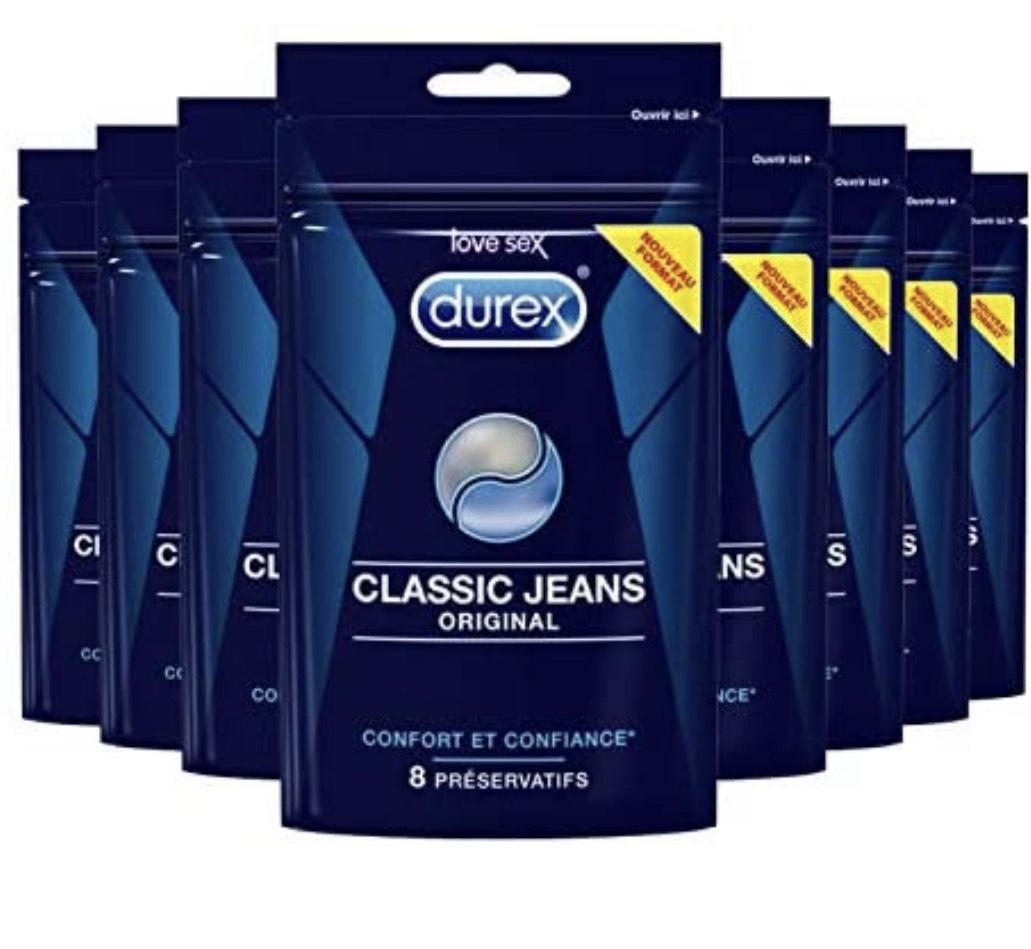 Lot de 8 boites de 8 préservatifs Durex Classic Jeans Original
