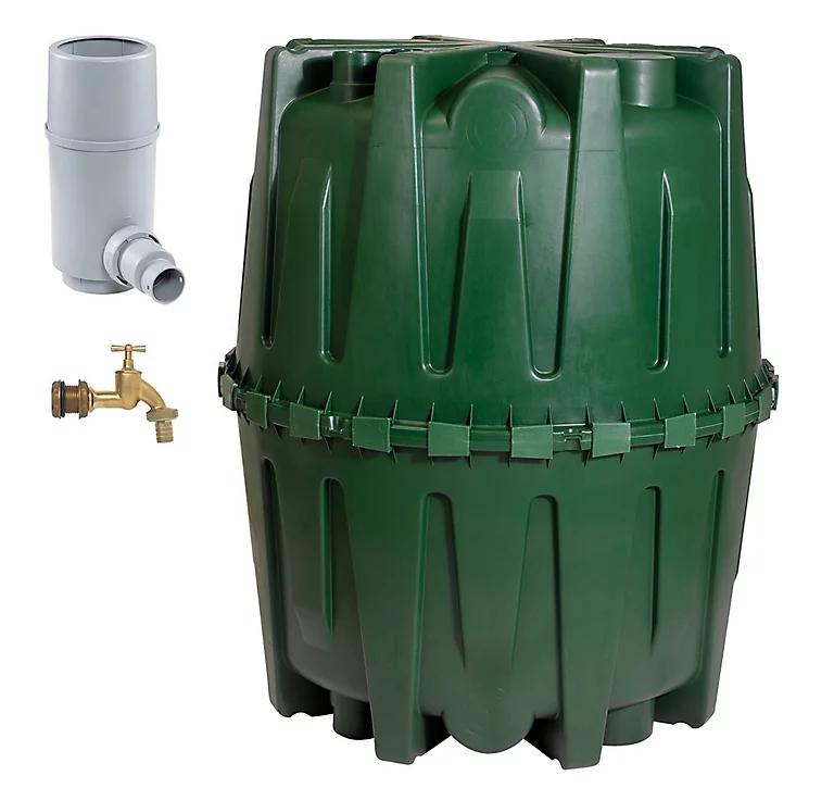 Récupérateur d'eau enterrable Garantia Hercule 320001 - 1600L, Kit collecteur, Robinet