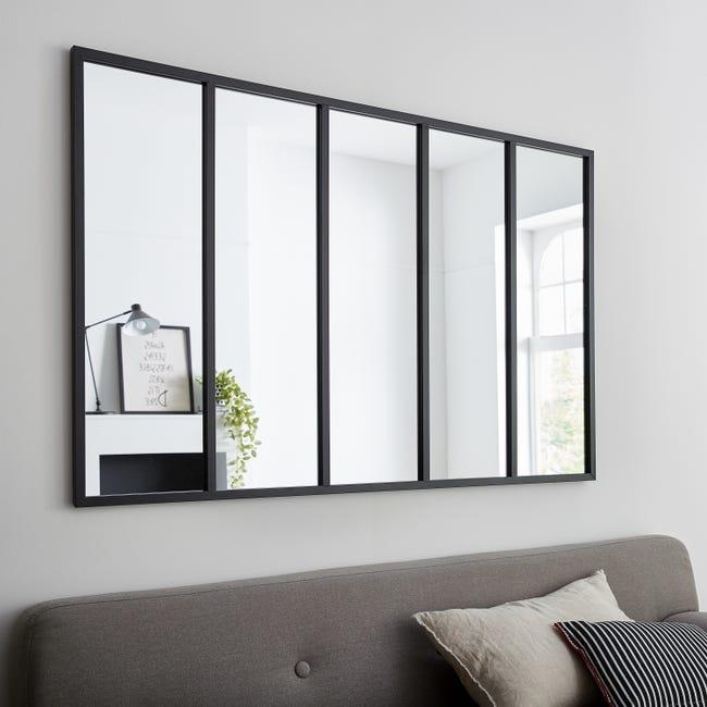Miroir rectangulaire Atelier - l.140 x H.90 cm, Noir