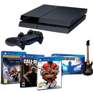 Pack PS4 1 To (CUH-1216B) + Street Fighter V + Call of Duty Black Ops III + Destiny: Le Roi des Corrompus + Guitar Hero Live