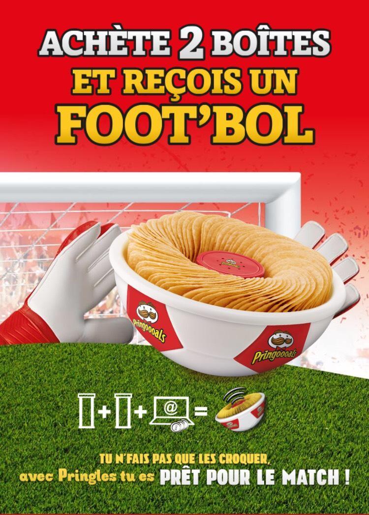 Un foot'bol reçu par poste pour l'achat de 2 boites de Pringles