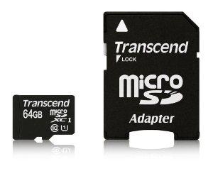 Carte mémoire Transcend Micro SDXC (Classe 10) 64 Go + Adaptateur