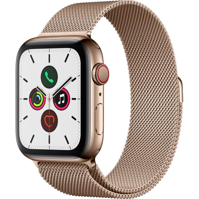 Montre Connectée Apple Watch Series 5 - GPS + Cellular, Acier Or, 44 mm, Bracelet Milanais Or