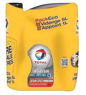 Huile moteur Total Activa 5W30 : Pack 5+1L Ineo ECS ou 5+2L 9000 Futur NFC