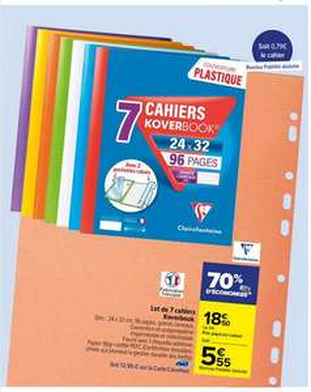 Lot de 7 cahiers KoverBook - grands carreaux, 24x32 cm, 96 pages (via 12.95€ sur la carte de fidélité)