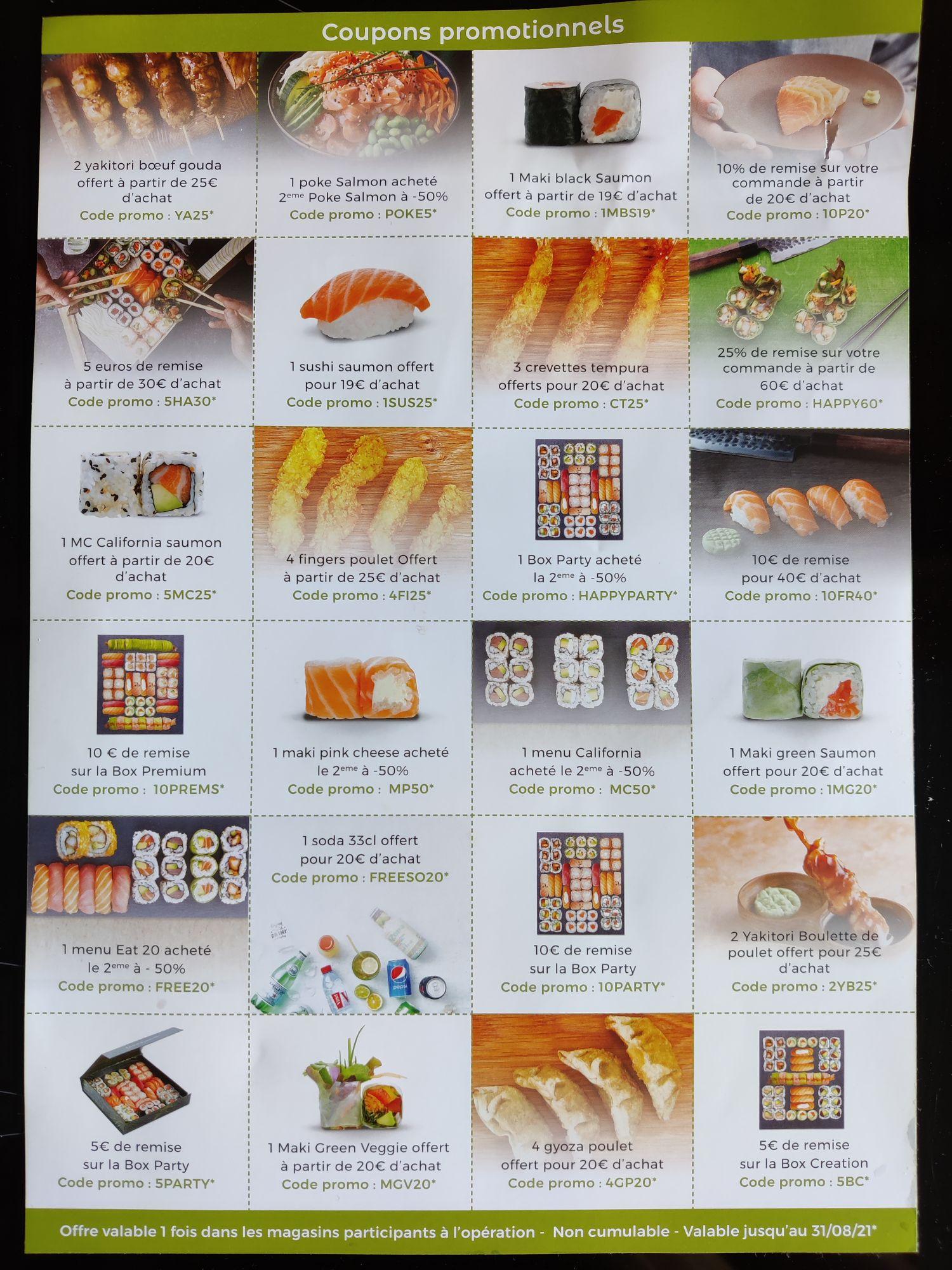 Sélection de codes de réduction EAT Sushi - Saint Germain en Laye (78)