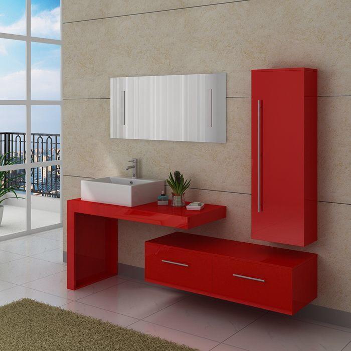 Meuble salle de bain DIS9250CO - Rouge coquelicot