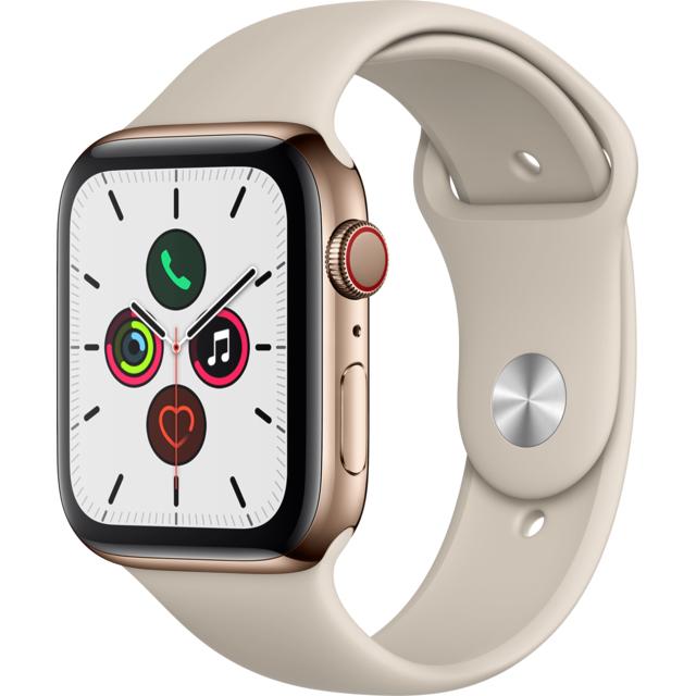 Montre connectée Apple Watch Series 5 - GPS + Cellular, Acier Or, 44 mm, écran oled et PACK REPRISE 80% soit 321,29€