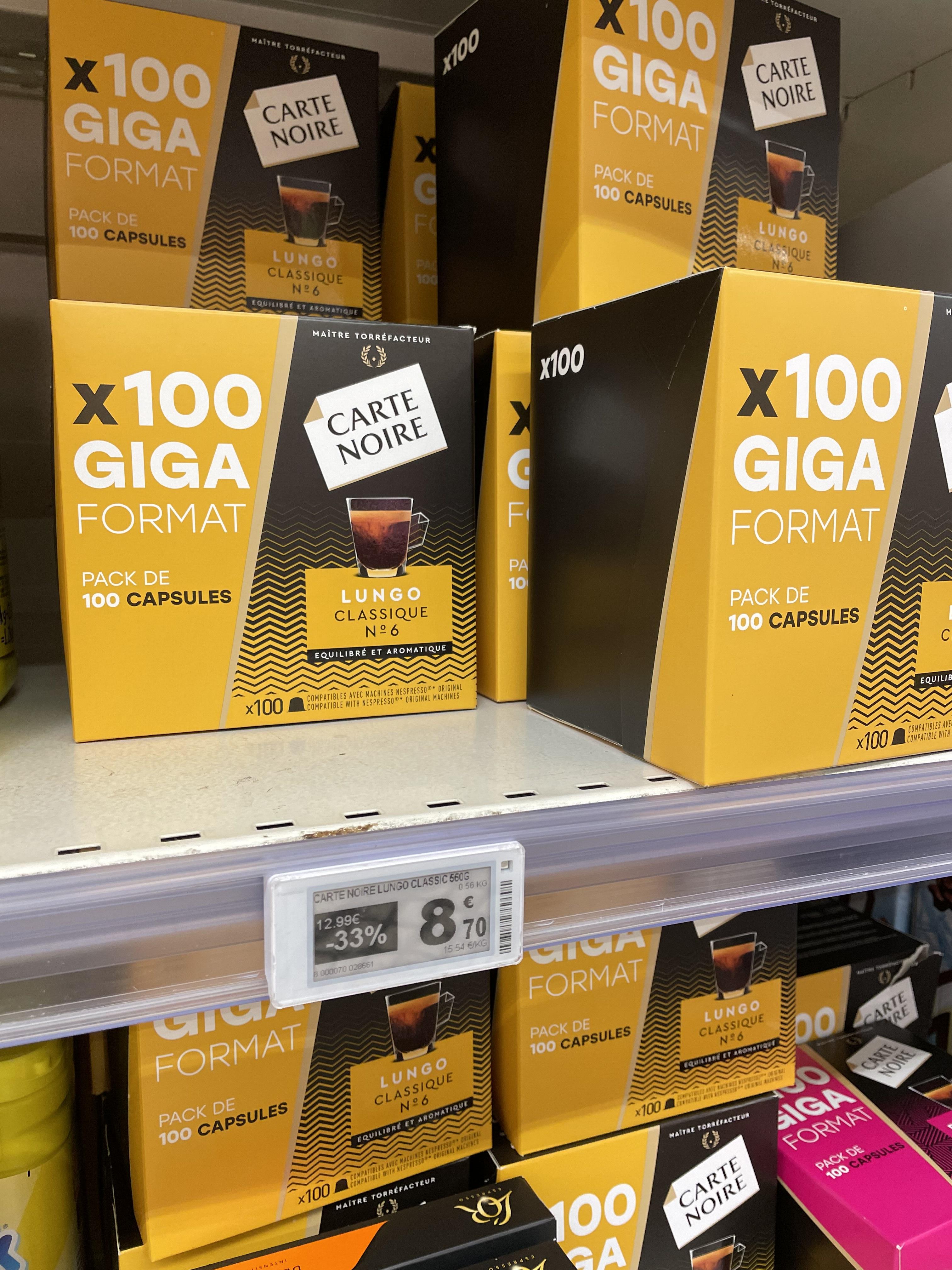 Paquet de 100 capsules de café Carte Noire lungo compatible Nespresso - Villeparisis (77)