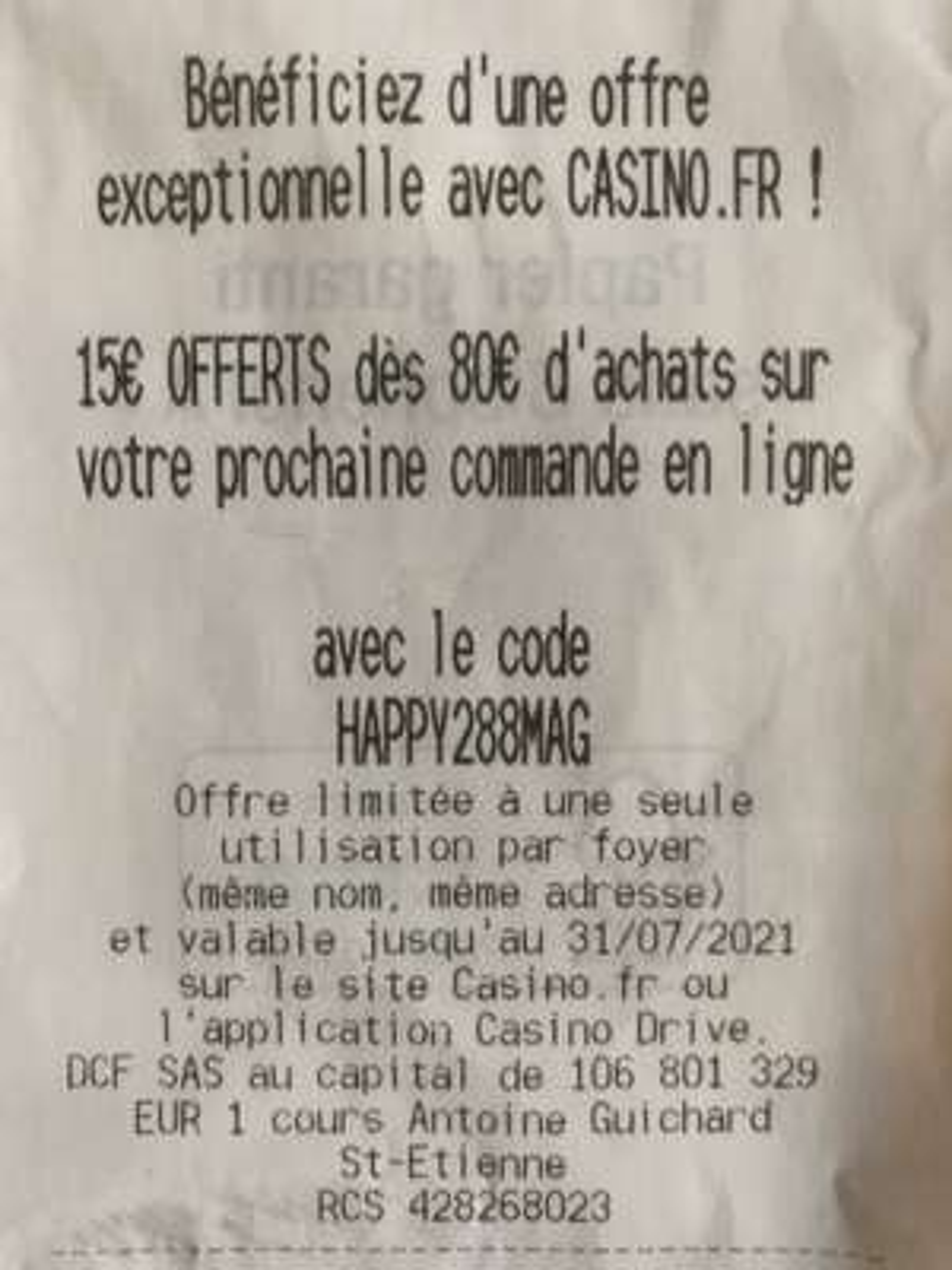 15€ de réduction dès 80€ d'achats