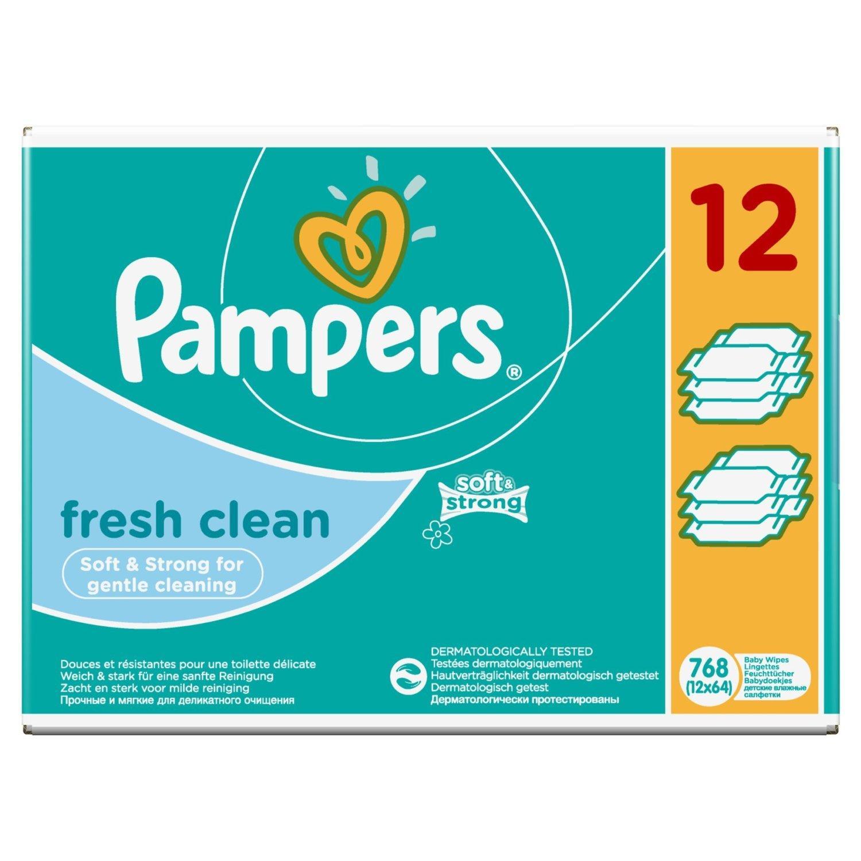 Lot de 12 paquets de lingettes Pampers Fresh Clean